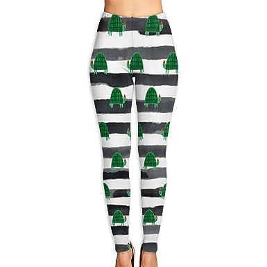 c19cd826cab87d Amazon.com  Sea Turtle in Black Stripe Women s Yoga Pants Leggings Trousers  Unique Sweatpants  Clothing