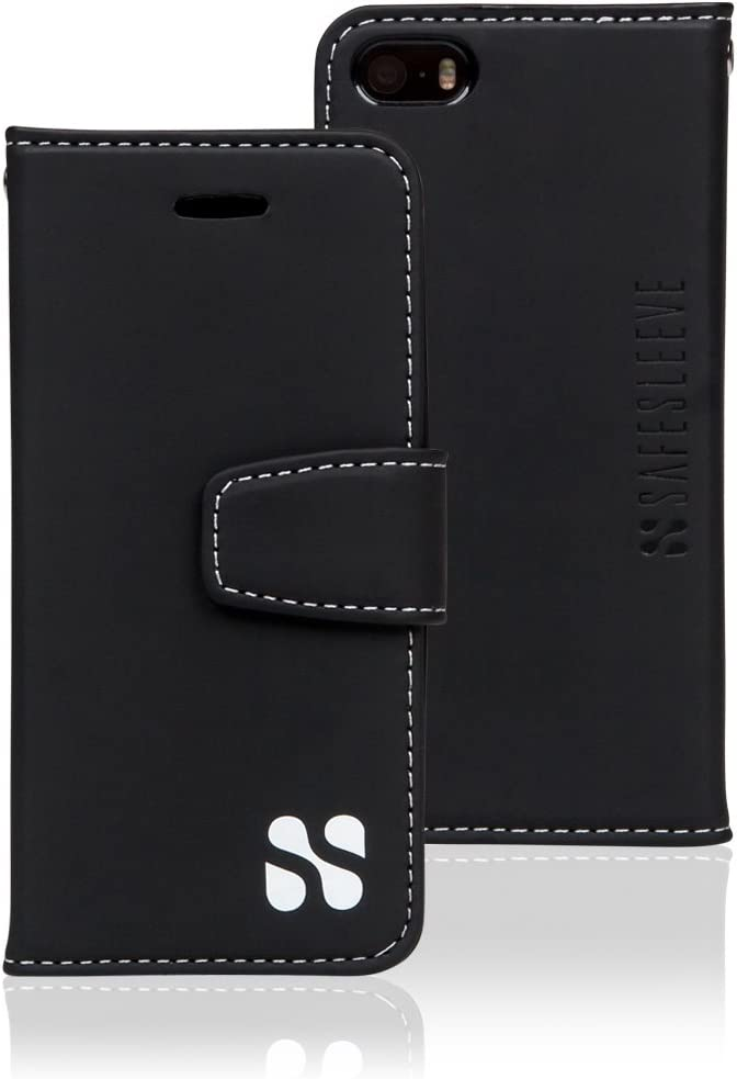 SafeSleeve EMF Protection Anti Radiation iPhone Case: iPhone SE and iPhone 5/5s RFID EMF Blocking Wallet Cell Phone Case (Black)