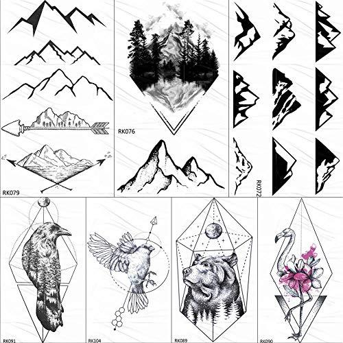 KAMRL Tatuaje Falso Tatuaje Diamante Geométrico Triángulo Lobo ...