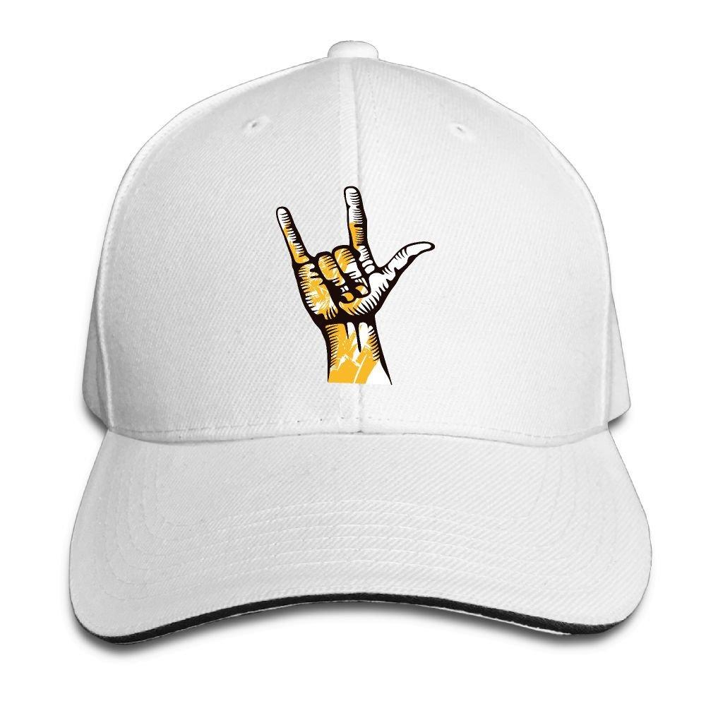 Unisex Sandwich Peaked Cap I Love You Gesture Adjustable Cotton Baseball Caps