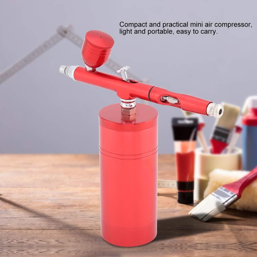 Conjunto de Aer/ógrafo for Compresor Capacidad 7CC Juego 0.3mm Negro O Rojo Pistola Pulverizadora de Aire Mini Color : Black