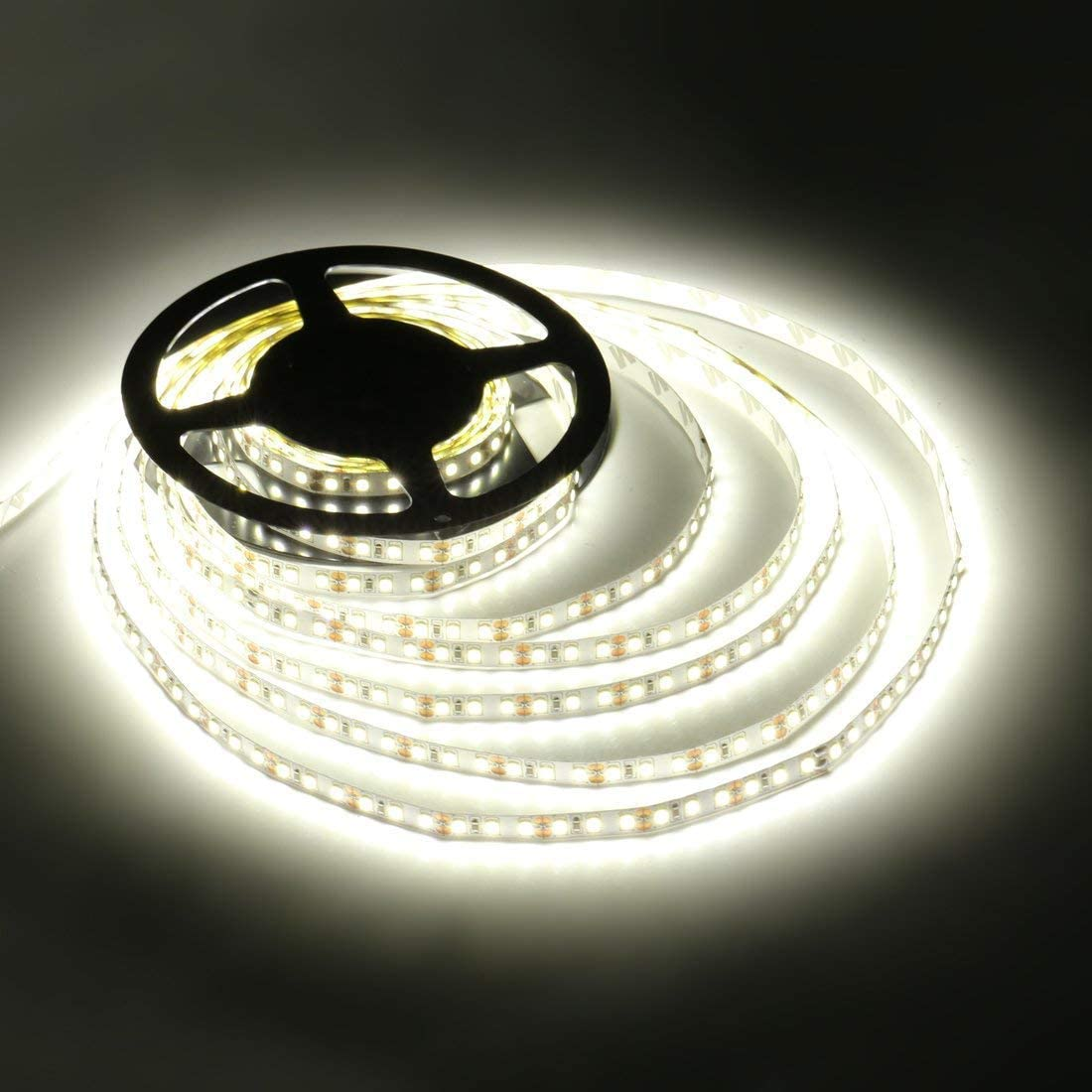 Ledmo Tiras Led No Impermeable, color Blanco, 12V SMD 2835, 600 Leds, 6000k frio 5 m, Cinta15 lm/Leds Brillo Alto Strip Light IP20