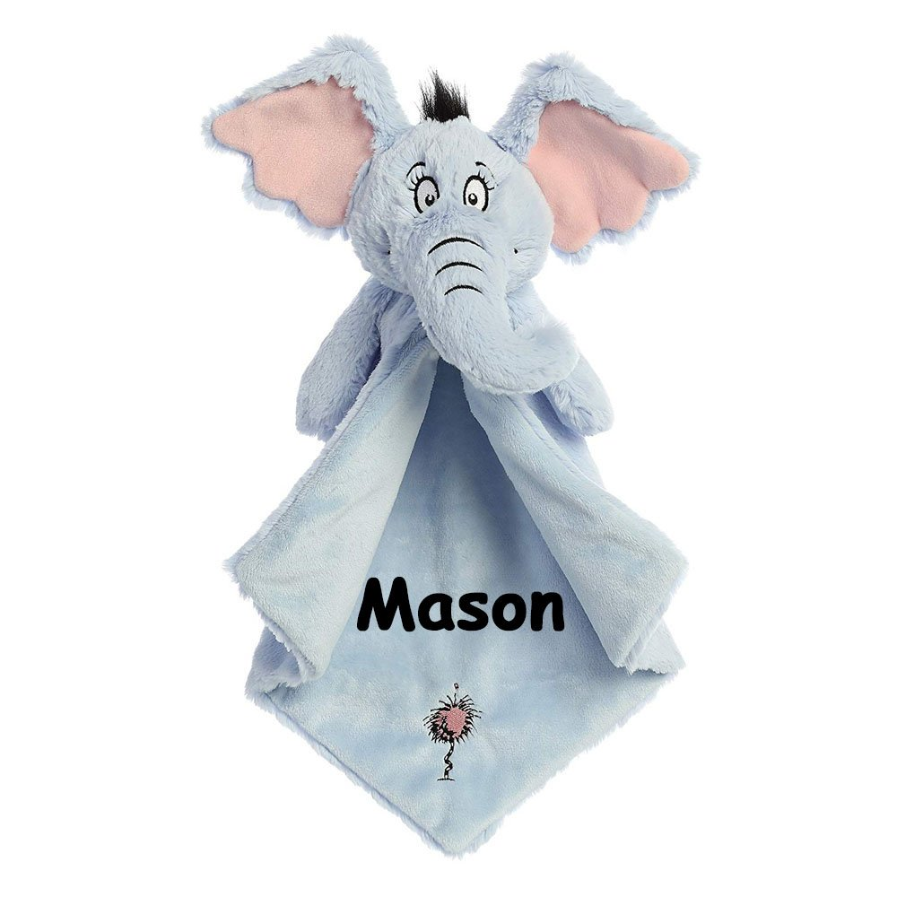 Aurora Personalized Dr. Seuss Horton Hears a Who Horton the Elephant with Pink Truffula Tree Luvster Plush Blanket for Baby Boy or Baby Girl - 18 Inches