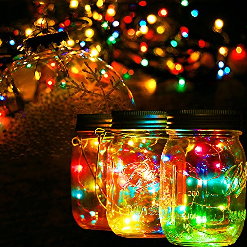 5 Pack Waterproof Mason Jar Lights 10 Led Solar Warm White Fairy String Lights Lids Insert For