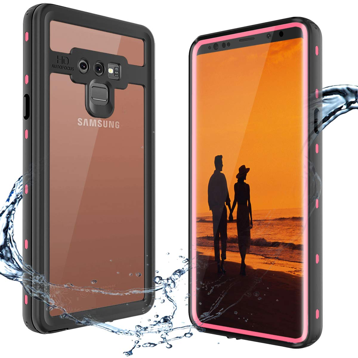 XBK Samsung Note 9 Case, Waterproof Shockproof Snowproof Cover Case with Built-in Screen Protector, Full Body Protect Clear Case for Samsung Note 9 (6.4