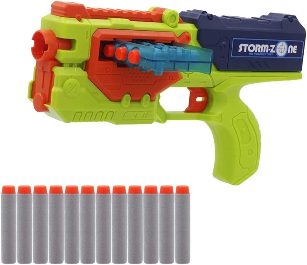 XIAOKEKE Pistola De Bala Suave, Dardos De Tiro De Juguete con Ondas De Choque, Pistola De Bala Suave Manual, 12 Balas De EVA, Pistola De Juguete para Niños