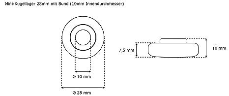 JAROLIFT Mini Kugellager 28 mm mit Bund 10 mm Innendurchmesser 5er Set