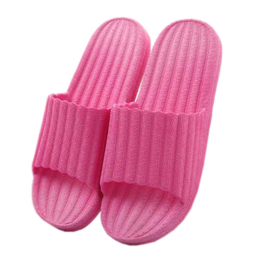 Indoor Cozy Bathroom Non-slip Slippers House Slipper For Womens, Rose Red