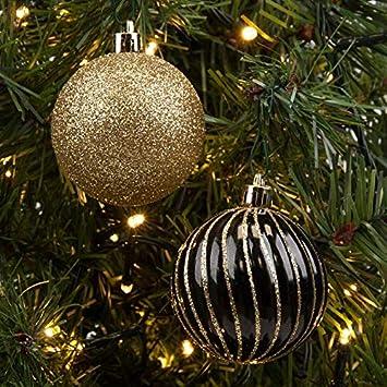 Christbaumkugeln Schwarz Gold.6 X 6 Cm Schwarz Gold Luxus Kugeln Weihnachtskugeln