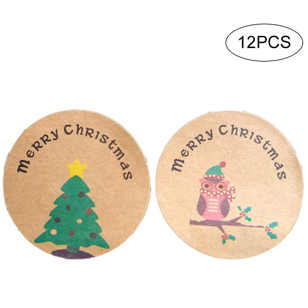 DDG EDMMS 120 Pack Decorazione Natalizia Adesivo Quadrato Autoadesivo Rotondo Handmade Etichetta Seal Decorazioni Packaging Cottura Bag Cookie Bag Beige Rotonda Decorazione di Natale