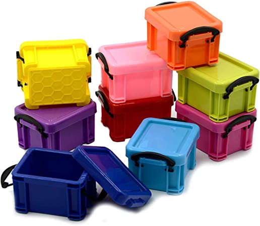 9 piezas de plástico coloridas Mini joyas apilables regalo caja ...