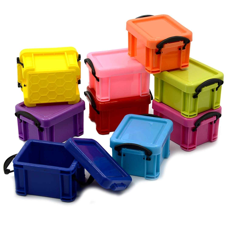 9 piezas de plástico coloridas Mini joyas apilables regalo caja contenedor contenedores de almacenamiento de color al azar Mishiner