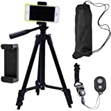 DAISEN 42-inch aluminum mobile phone tripod for iphone universal smartphone cell phone camera tripod Arbitrary installed With remote control (Black)