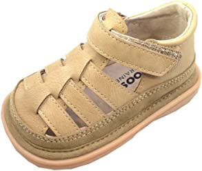 c8810b9f4e4b Mooshu Trainers Boys Tan Fisherman Lined Squeaky Sandals 3 Baby-9 Toddler