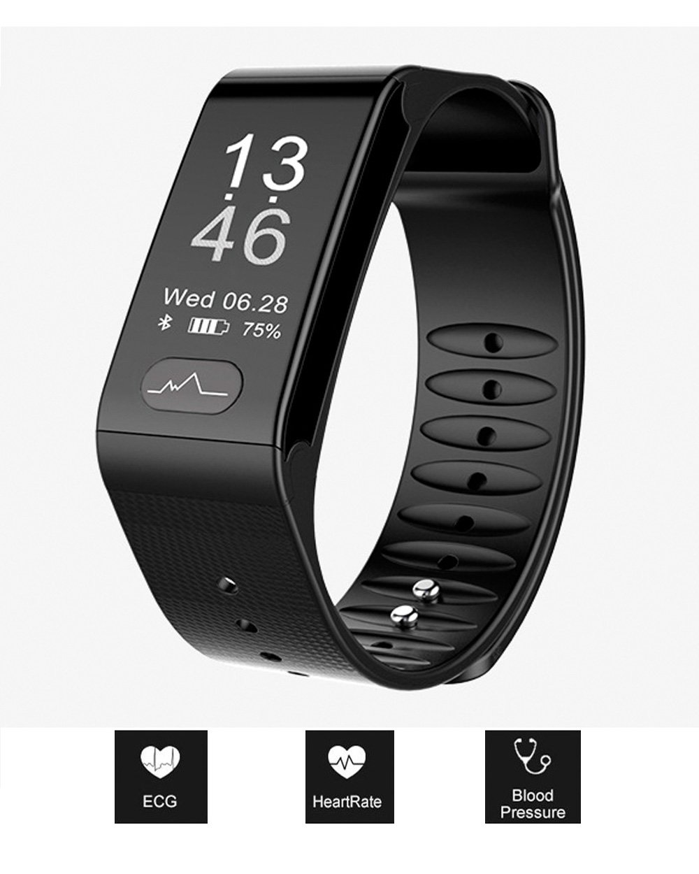 GETOKOK Fitness Tracker, Activity Tracker with ECG Heart Rate Blood Pressure Monitor, Bluetooth Waterproof Watch, Smart Band Bracelet Large Screen(0.96''), Health Assistant for Android or iOS