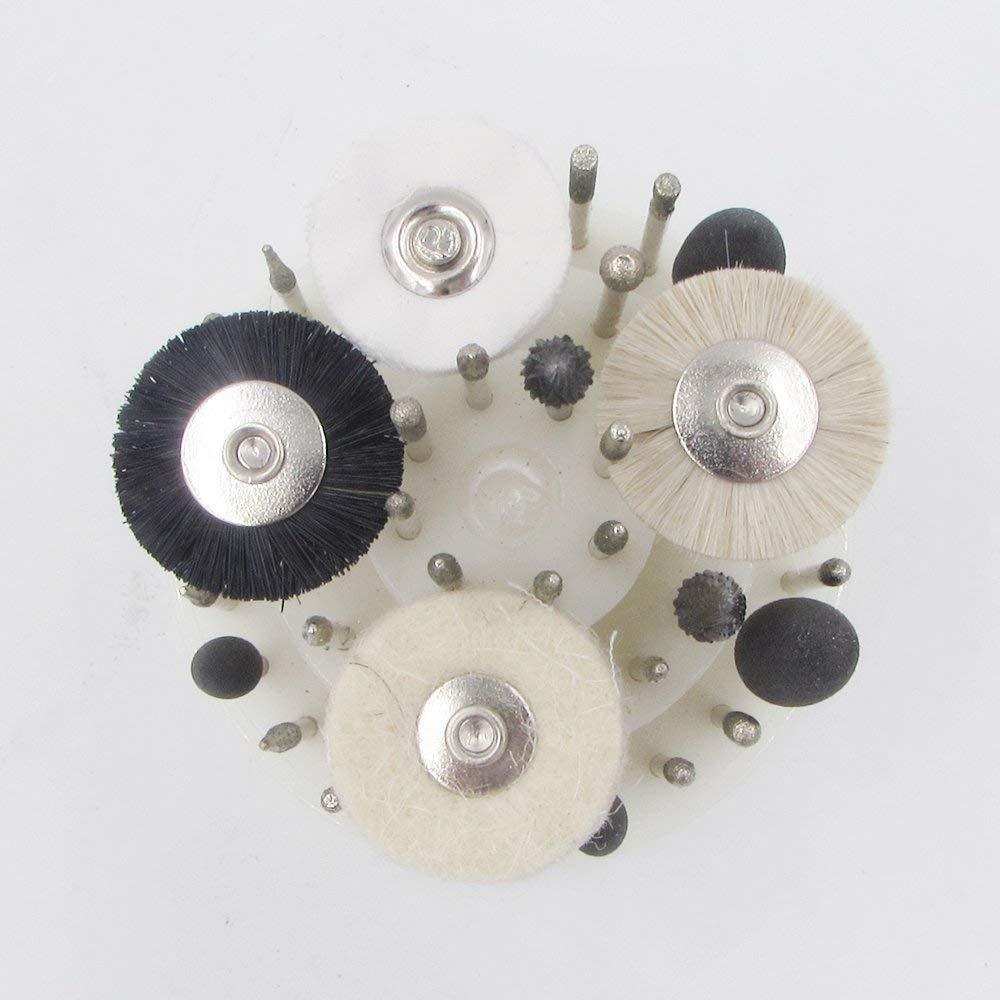 40 PCS Slow Speed Micro Polishing Drill Bits Include Tungsten Carbide Burr Diamond Burs Hair Brush Silicone Polishers