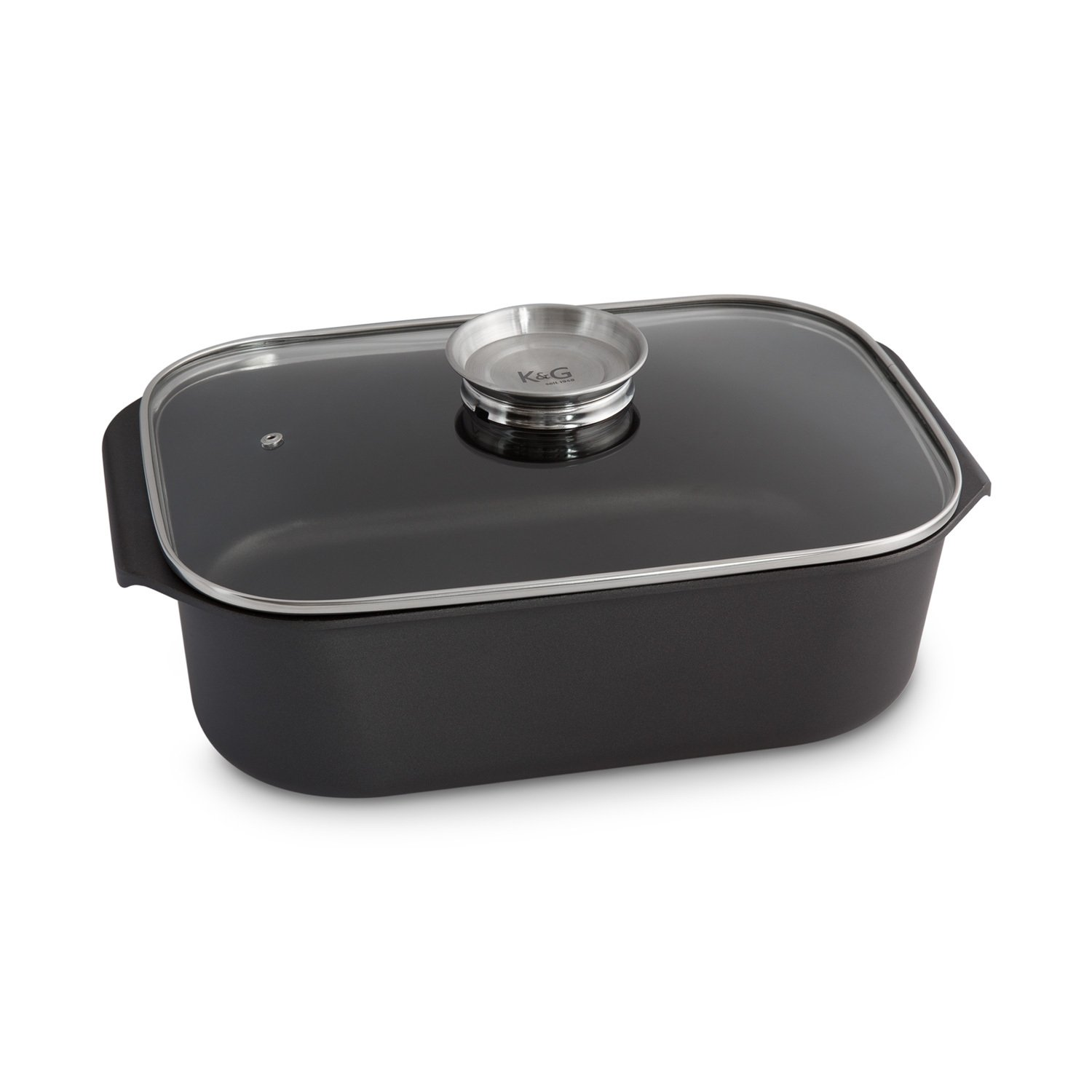 Cast Aluminium Casserole with Glass Lid and Integrated Aroma Button by K & G seit 1948 Robust Cast Aluminium Roaster with Steam Vent Non-Stick; Teflon Coating with or Without Optional Grill Lid