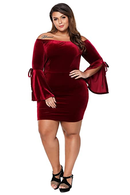 LittleLittleSky Womens Sexy Velvet Off Shoulder Slit Long Bell Sleeve Plus Size Bodycon Dresses ((