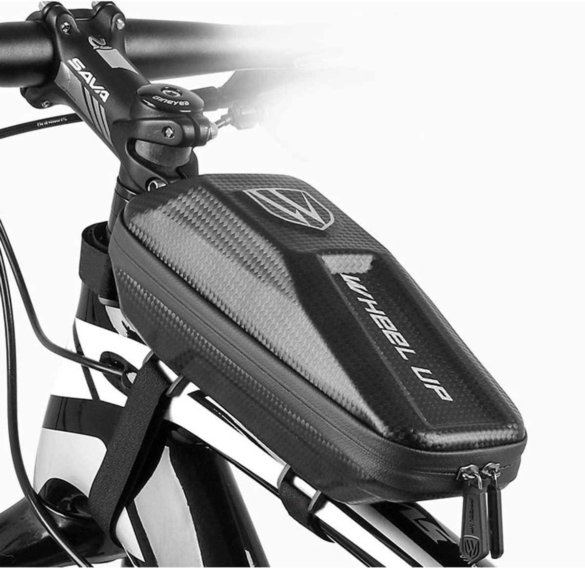 Yuehuam Bike Front Frame Bag Waterproof Top Tube Phone Storage Pouch Cycling Pannier Mobile Phone Mount Pack Large Capacity Cellphone Case for Outdoor Sport Accessories
