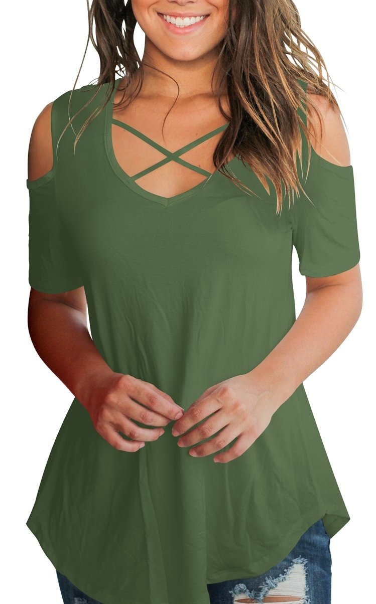 Cotton T Shirt for Women Cold Shoulder Criss Cross Tops V Neck Blouse Amy Green M