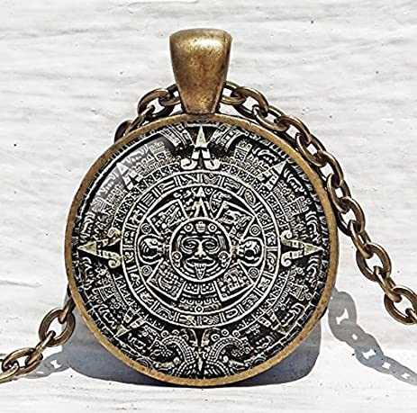 Amazon jewelry tycoonmayan calendar pendant mayan calendar jewelry tycoonmayan calendar pendant mayan calendar jewelry aztec calendar mayan pendant brown white astronomy aloadofball Image collections
