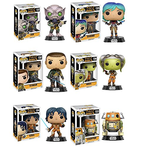 [Pop!: Star Wars Rebels Ezra, Kanan, Sabine, Hera, Zeb and Chopper Vinyl Figures! Set of 6] (Star Wars Chopper)