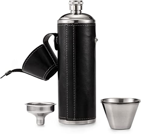 Hip Flasks for Liquor 6oz Stainless Steel Hip Flask Drinking Flask Black Leather Funnel with Two Wine Cups Set