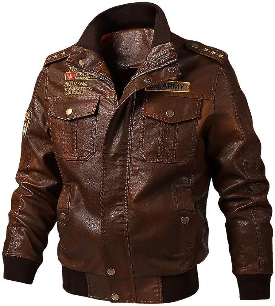 Loeay Chaqueta de Cuero de imitación para Hombre Classic Male PU Motocicleta/Moto Abrigos de Motorista Primavera Otoño Invierno Slim Smart Fit Vintage Jacket Coat