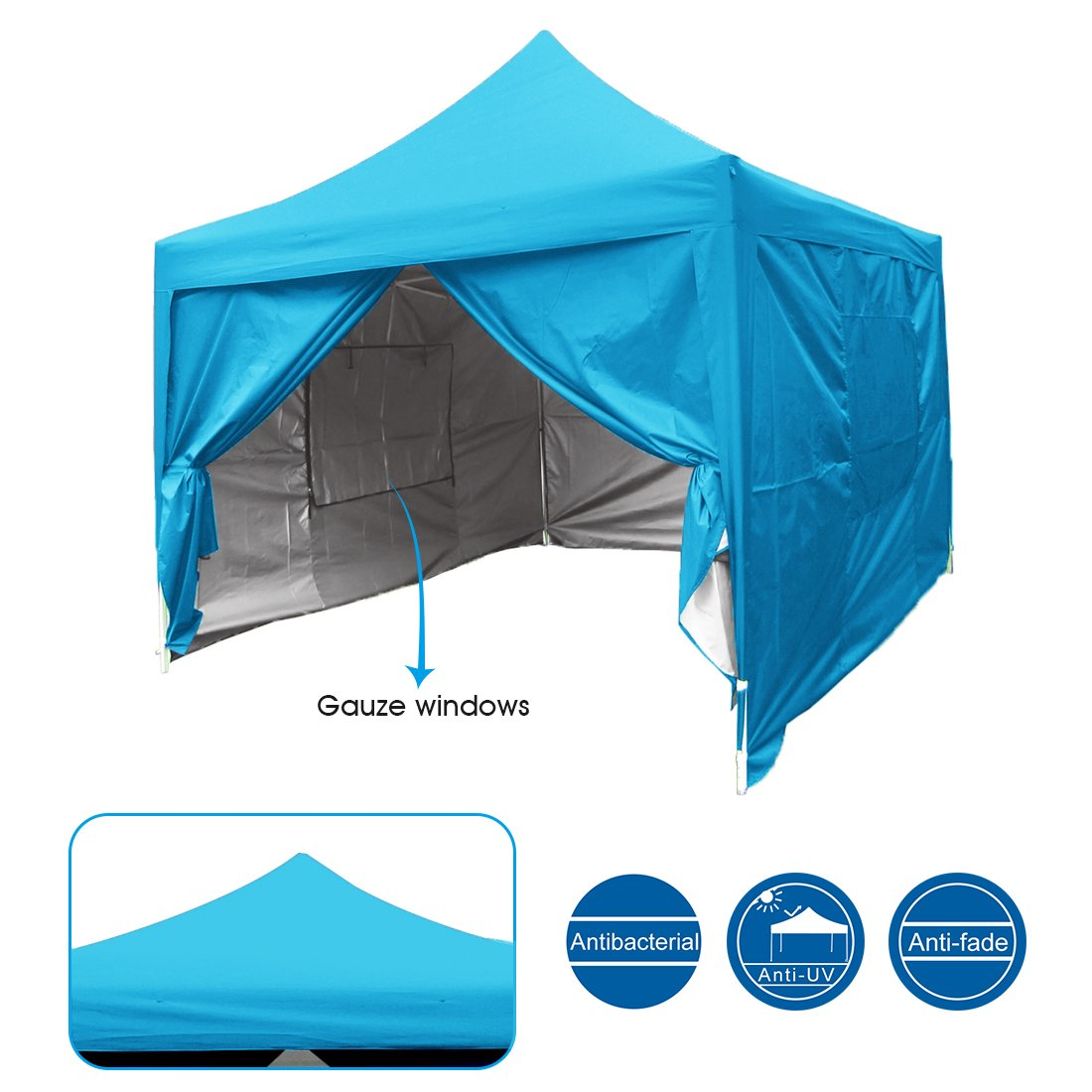 Quictent Privacy 8'x8' Blue EZ Pop Up Party Tent Canopy Gazebo Mesh Curtain Waterproof