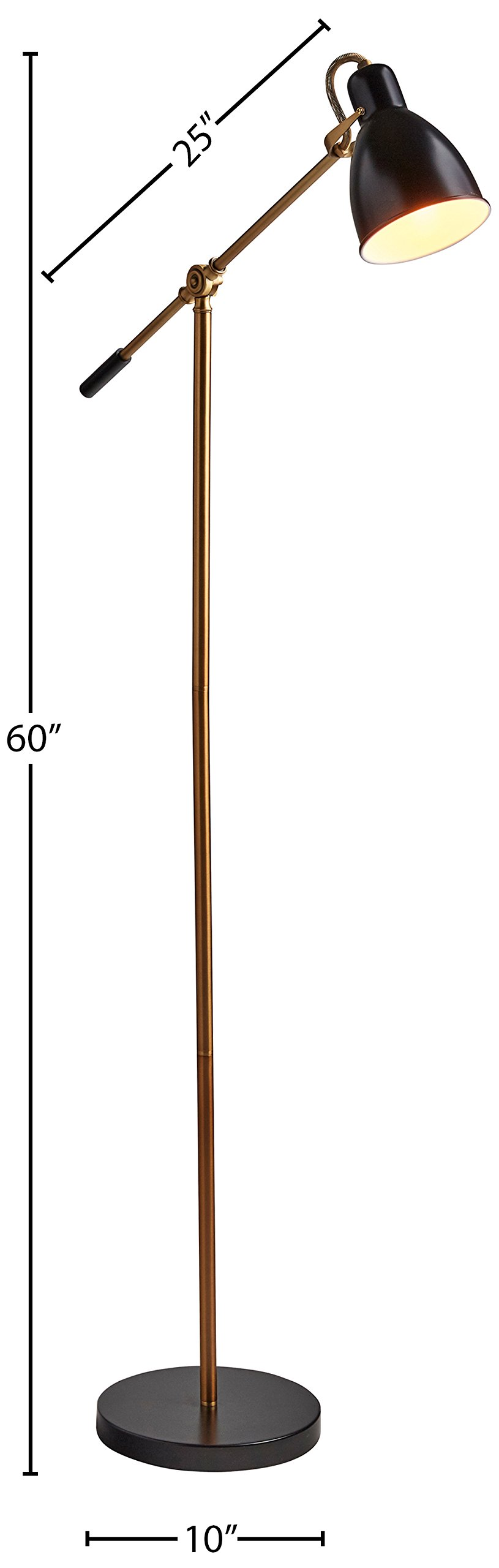 Rivet Caden Adjustable Task Floor Lamp with LED Bulb, 60''H, Black and Brass by Rivet (Image #5)