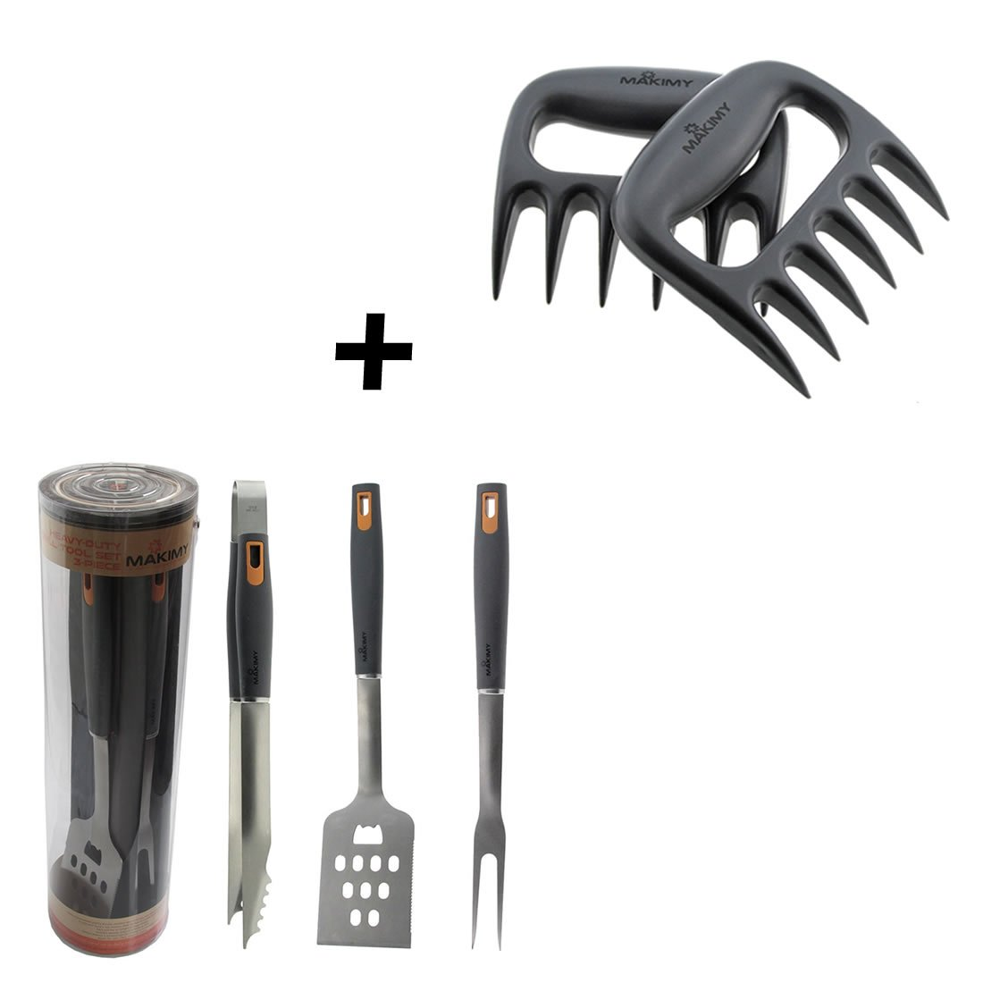 Makimy BBQ Tools + Meat Claws - 3-Piece Professional-Grade Heavy Duty EXTRA STRONG Stainless-Steel Barbecue Tool Set - Gift Box - Great for Best Friend Gift