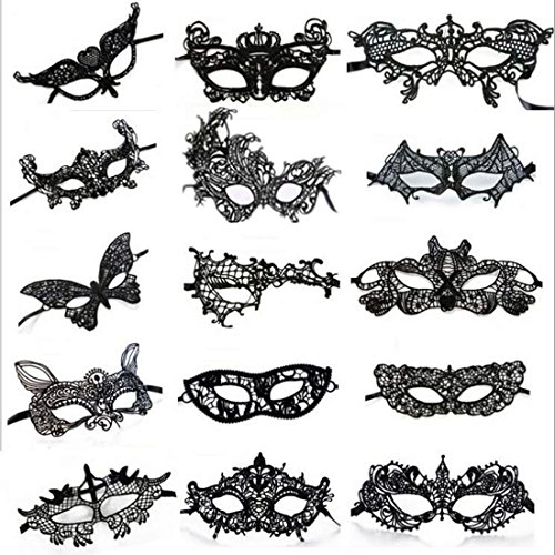 [15 Pcs Sexy Black Lace Masquerade Party Masks Venetian Masquerade Mask] (Bulk Venetian Masks)