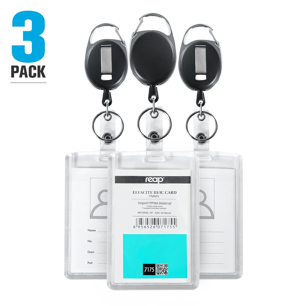 3 Pack Heavy Duty Retractable Badge Holder - Hard Plastic Clear Acrylic Top Loading Two ID Card with Retractable Badge Reel Belt Clip and Key Ring by Reap