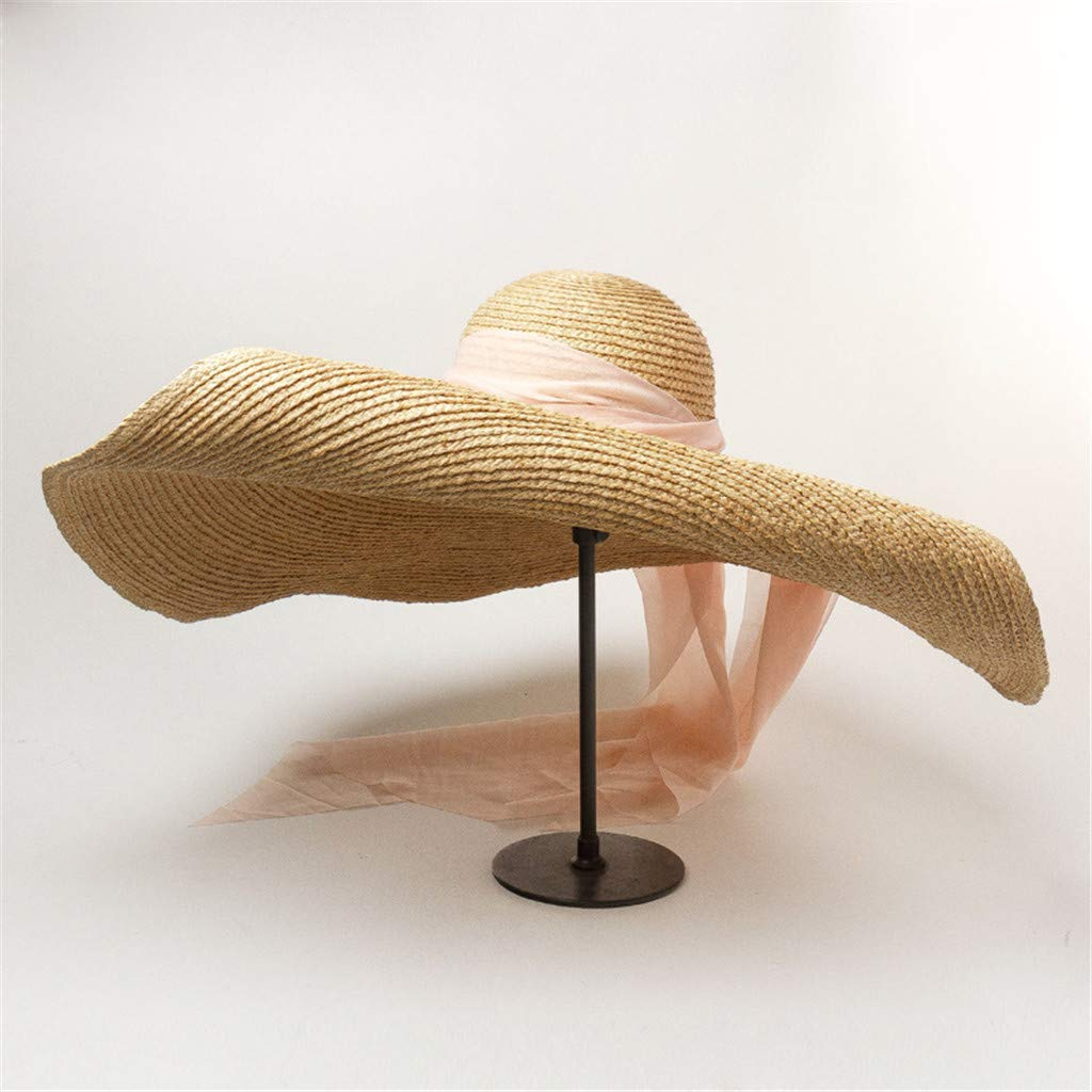 GJK-SION Fashion Floppy Big Brim Straw Cap for Women Beach Anti-UV Sun Protection Foldable Roll up Summer Large Sun Hat with Wind Lanyard Pink