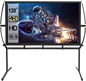Projector Screen with Stand 120 inch,16:9 Outdoor Movie Screen, Portable Projector Screen for Home Theater