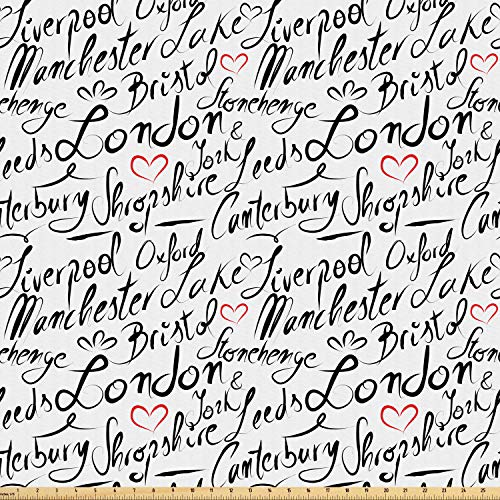 Ambesonne England Fabric by The Yard, Famous Cities in Monochrome Hand Lettering Style Bristol London Oxford, Microfiber Fabric for Arts and Crafts Textiles & Decor, 5 Yards, Black White Vermilion