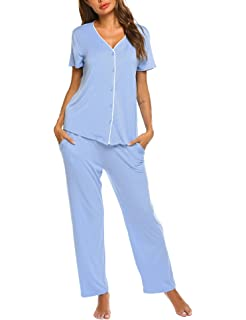 91e2f143265755 Pyjama Set Damen Schlafanzug Kurzarm Hose und Oberteil kurz ...