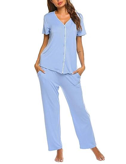 Damen Pyjama 3//4 Sommer zwei-teiliger Schlafanzug Pyjama-Set Nachtwäsche