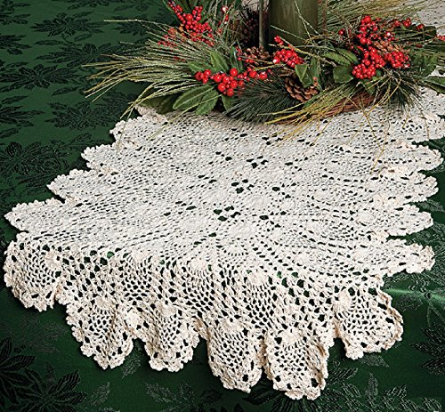 Beige Hand Crocheted Table Runner 54 Inches Long - Table Linens