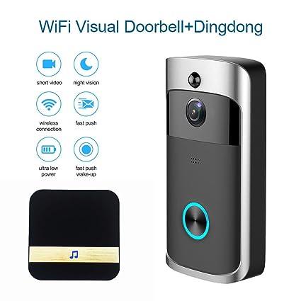 2a2d65b8e4de WIFI Smart Video Doorbell, Wireless Door bell with Ding Dong 720P HD  Security Camera Intercom Door ...