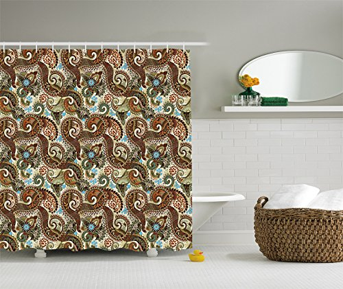 Ambesonne Paisley Decor Shower Curtain Set, Flower Blossoms Ethnic Pattern, Bathroom Accessories, 69W X 70L - Paisley Accessories