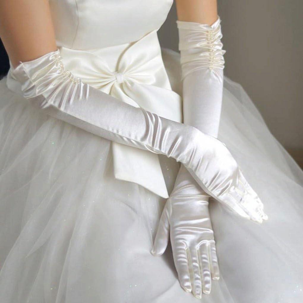 YJZQ Gants Long de Mariage Femme Gant de Satin /épouse Blanc//Ivoire//Noir Gant D/éguisement Simple El/égant Longueur du Coude Woman Wedding Glove Gant de Soir/ée Bal Spectacle F/ête avec Perles