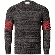 Men's Stylish Gauge Knitted Pullover Crew Neck Sweater