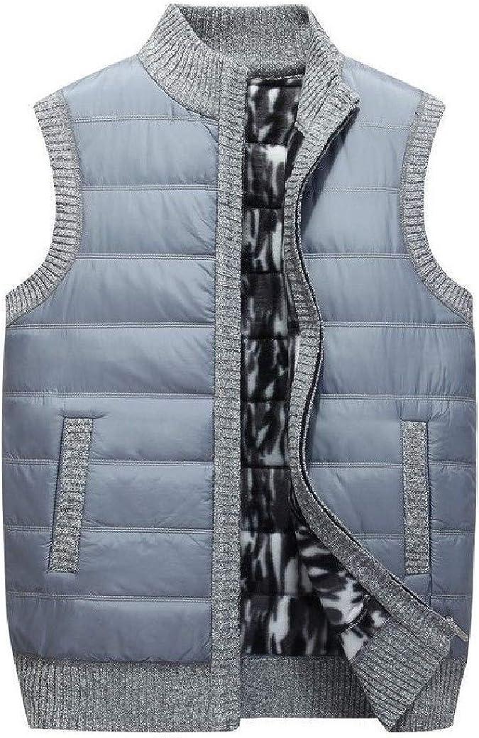 YULEgowinner Men Outerwear Stand Collar Quilted Winter Jacket Coat Sleeveless Vest