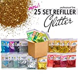 Glitter Powder for Slime - 25 Fine Glitter Set - Iridescent Body Glitter - Nail Art - Cosmetic - Holographic Heart and Star Fine Glitter Variety
