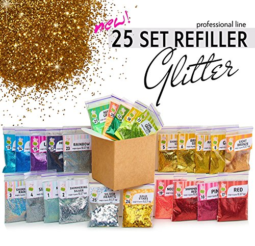 Glitter Powder for Slime - 25 Fine Glitter Set - Iridescent Body Glitter - Nail Art - Cosmetic - Holographic Heart and Star Fine Glitter Variety by Soap Shop