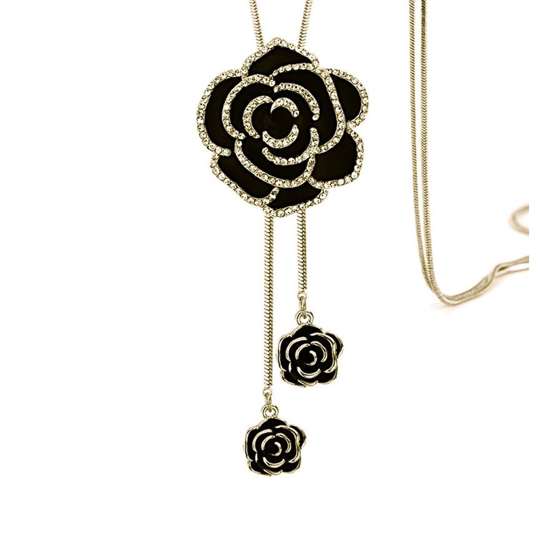NOVADAB Dazzling Black Rose Petal Neck-Piece With Long Chain Necklace, Lovely Necklace for Her❤ (Gold)