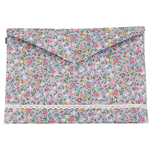 Floral Fabric Button (Rurah Portable Floral A4 File Envelope Fabric Document Bag Paper Pockets Letter Folder with Snap Button Closure,blue)