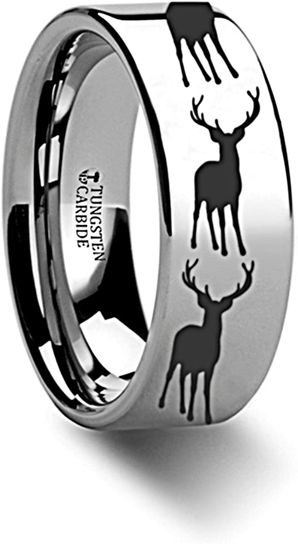Thorsten Wildlife Stag Deer Elk Animal Antlers Print Pattern Ring Flat Black Tungsten Ring 4mm Wide Wedding Band from Roy Rose Jewelry