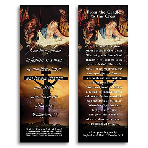 (Bible Verse Cards, by eThought – Philippians 2:8 - From the Cradle to the Cross - Pack of 25 Bookmark Size Cards for reading, study, gifts and encouragement.)